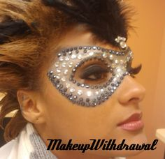 masquerade makeup ideas | Jeweled Black/Silver Mardi Gras Mask!