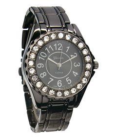 Gunmetal & Crystal Bracelet Watch