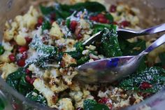 Roasted Cauliflower, Spinach and Pomegranate Salad