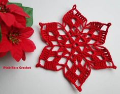 Crochet Stella di Natale Mot (Not only is this an awesome pattern Crochet Snowflake Pattern, Crochet Motifs, Crochet Snowflakes, Thread Crochet, Crochet Crafts, Crochet Doilies, Yarn Crafts, Crochet Flowers, Crochet Stitches