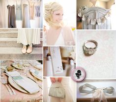 vintage wedding with soft peaches, blues, creams, and grays    Love these colors!