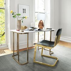 Read our definitive guide to marble and brass home decor. See and shop classy, chic and trendy marble and brass furniture and home accessories for your living room, dining room, kitchen and bathroom. For more design trends go to Domino. Marble Desk, Best Desk, Deco Design, Home Office Design, Office Designs, Office Furniture, Office Chairs, Urban Furniture, Office Table