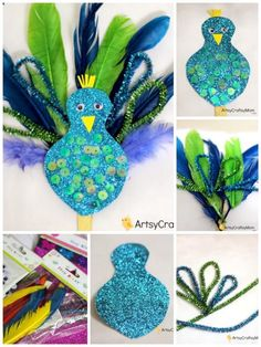 Easy Peacock craft for kids made using feathers, pipe cleaners & glitter paper. … Easy Peacock craft for kids made using feathers, pipe cleaners & glitter paper. A fantastic craft to make after visiting the zoo & while learning about birds. Peacock Crafts, Feather Crafts, Bird Crafts, Craft Stick Crafts, Preschool Crafts, Fun Crafts, Craft Sticks, Popsicle Sticks, Arts And Crafts For Adults