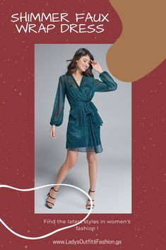 💥 SHIMMER FAUX WRAP DRESS Captivate like no other when you're decked out in this shimmery look. A surplice neckline and sash at the waist give this A-line dress a layered wrap look in a fraction of the styling time. Flouncy balloon sleeves and a lettuce edge, ruffle hem lend fun, bouncy movement to this stunning party piece. #Fashion #partydress #outfit #womenswear #womensclothing #clothing #clothes #shoppingonline #chic #apparel #shopping #dresstoimpress