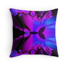Pink and blue fractal throw pillow by Tracey Lee Art Designs
