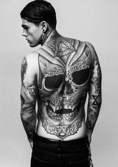 Skull tattoo on back 2016