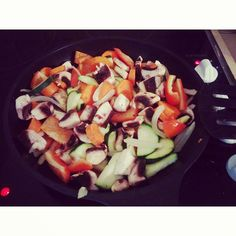 Yummy colourful stir fry!   Best way to load up on vegetables ;) Recipe on the link.