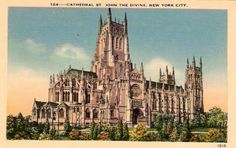 Vintage 1900, Architectural rendering of Cathedral of St. John the Divine, NYC, www.RevWill.com