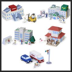 Mini City Playset For Diorama Free Papercrafts Download - http://www.papercraftsquare.com/mini-city-playset-diorama-free-papercrafts-download.html