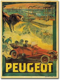 ''Peugeot Cars, 1908'' 24'' x 32'' Canvas Art by Francisco Tamagno https://api.shopstyle.com/action/apiVisitRetailer?id=407924696&pid=uid8100-34415590-43