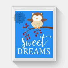 sweet dreams baby owl print cute night sky branch by DaisyandDecor