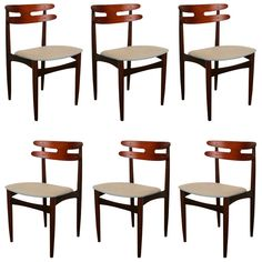 Set of 6 Anonymous Vintage Teak Dining Chairs ca1960's Denmark