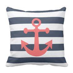 Nautical Navy Blue Stripes Coral Anchor Throw Pillow