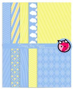 Sleepy boy digital paper - 8.5 x 11- printable blue background - clouds - stripes - zebra - card making - scrapbook