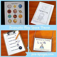Dramatic Play Space Center Theme Printables via www.pre-kpages.com