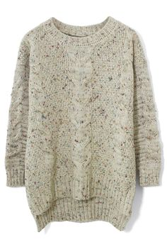 Candy Dots Cable knit Sweater in Ivory - New Arrivals - Retro, Indie and Unique Fashion