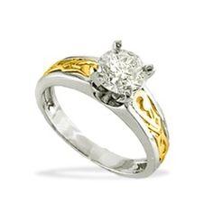 White and Yellow Gold Nalani 1.0 Carat I-SI2 Round Diamond Engagement Tapered Ring - Rings - Jewelry Type