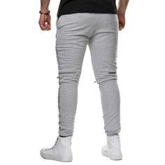 Helium Herren Jogging Hose Slim Fit Zipper Schwarz Grau Zipper Knees: Amazon.de: Bekleidung