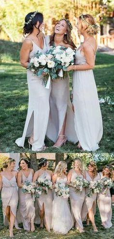 Long Gray Spaghetti Straps With Slit Charming Formal Bridal Bridesmaid Dress. PG001