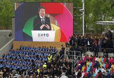 Expo Milano 2015, il Presidente del Consiglio dei Ministri italiano Matteo Renzi inaugura la grande esposizione mondiale, Milano 01.05.2015