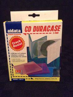 NIB Aidata 5 CD/DVD Disk Box Duracase in 5 Colors CD 1-5 Protect Multi Media #Aidata