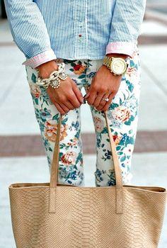 delightful floral printed pants