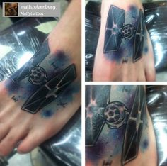 Tie Fighter with Galaxy Background.  You can find the owner of this tattoo or the artist behind this tattoo by following the usernames in the grey box.