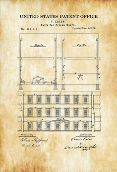 Prison Door Patent 1873  Prison Guard Gift Wall Decor Law