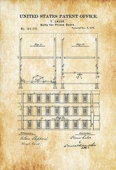 Prison Door Patent 1873 - Prison Guard Gift Wall Decor Law Enforcement Gift Prison Art Prison Cell Patent Patent Print Old Prison Plan by PatentsAsPrints