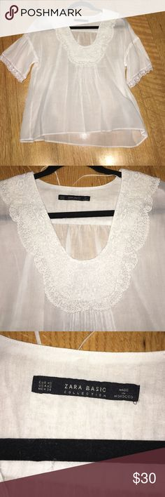 Woman Zara basic white top size XS Woman white Zara top. Size XS. cute with lace trimming. Short sleeve. Never worn. Zara Tops Tees - Short Sleeve