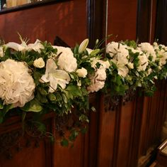 Church Decor - Garland of Hydrangea, Roses and Liles Pew Flowers, Easter Flowers, Church Flowers, Wedding Flowers, World Crafts, Fantasy Wedding, Wedding Chairs, Wedding Decorations, Wedding Ideas