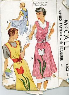 1948 McCalls 1403 Cover-all Apron Sewing Pattern Vintage Retro Full One Small 14-16 Tulip Pocket. $44.00, via Etsy.