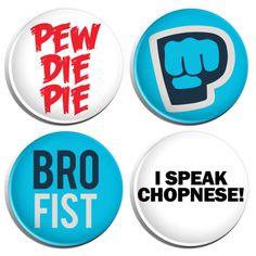 PewDiePie Pinback Button Pins - 4 Pack