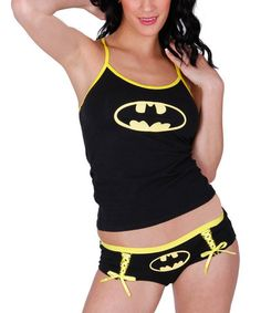 c4c92a6277c Underboss Black   Yellow Batman Camisole   Lace-Up Briefs Set - Juniors. Plus  Size ...