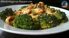 Blondynka Gotuje: Fettucionne z łososiem i brokułem w sosie pomidoro...