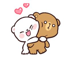 Milk and mocha bear couple gif - milkandmocha bearcouple line - discover & share gifs Cute Cartoon Images, Cute Couple Cartoon, Cute Love Cartoons, Cartoon Gifs, Cute Cartoon Wallpapers, Hug Cartoon, Hello Kitty Cartoon, Animiertes Gif, Hug Gif