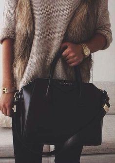 faux fur vest + givenchy handbag