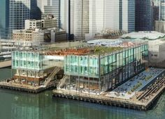 Green-roofed glass structure to replace the South Street Seaport Tourist Mall at Pier 17