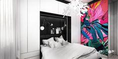 Projektowanie wnętrza sypialni w krakowskim mieszkaniu. Efektowna grafika na ścianie ożywia wnętrze i nadaje mu niezwykłego charakteru. Więcej na www.artcoredesign.pl .