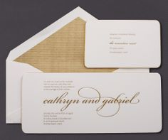 Our Heavyweight Gold Gilt Edge invitation suite is presented here engraved in gold ink.