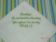 so cute! Father of bride handkerchief/hand by SheriAngellCreations on Etsy, $15.00