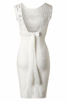 Unique Vintage White lace bow wedding dress 13033 20140603 0004 2