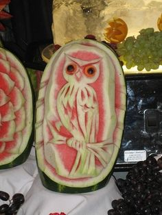 watermelon carving owl