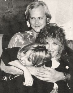 Christine McVie, and Stevie  ~ ☆♥❤♥☆ ~ fooling around, with John Courage, Fleetwood Mac's then- tour manager behind them; sadly John passed away on October 23rd, 2016; this photo was taken in 1982, during the 'Mirage' era ~