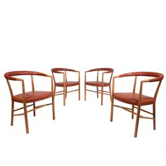 Jacob Kjaer Set of Four UN Chairs | From a unique collection of antique and modern armchairs at https://www.1stdibs.com/furniture/seating/armchairs/