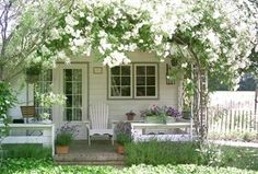 Cottage Porch with Cape Cod Foldable Adirondack Chair, Cottage garden, French doors, Screened porch, Trellis, Fence