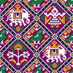 Cross Stitch Charts, Cross Stitch Patterns, Pattern Art, Print Patterns, Mexican Pattern, Pichwai Paintings, Graph Paper Art, Truck Art, Feather Art