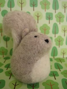 Squirrel+Needle+Felted+Wool+Sculpture+by+PeakVintage+on+Etsy,+$23.00