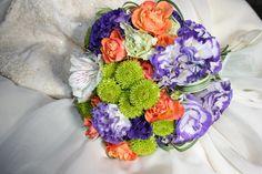 #Purples, #oranges, lime green, #contemporary bright bouquet teresaferrando.com