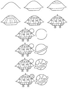 Learn to draw a UFO in space step by step